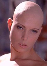 Picture of shaved bald head of women